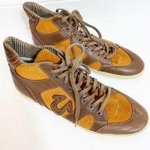 True Religion mens high top sneakers brown SZ 9.5
